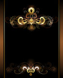 Gold vignettes. Gold sparkling vignettes on a brown background Royalty Free Stock Photo