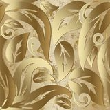 Gold Vintage Baroque 3d Vector Seamless Pattern. Royalty Free Stock Image
