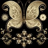 Gold vintage butterfly Stock Photo