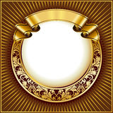 Gold vintage circle frame with ribbon Royalty Free Stock Photos