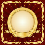 Gold vintage circle frame with ribbon Stock Images