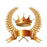 Gold vintage crown and laurel wreath, royal emblem Stock Photos