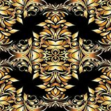 Gold vintage 3d floral seamless pattern. Black vector background. With hand drawn golden paisley flowers, swirls, leaves, curve lines and modern paisleys Stock Photography