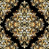 Gold vintage 3d floral seamless pattern. Black vector background. With hand drawn golden paisley flowers, swirls, leaves, curve lines and modern paisleys Stock Image