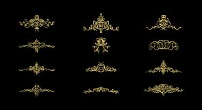 Gold Wicker lines and old decor elements in vector. Royalty Free Stock Photography