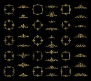 Gold Wicker lines and old decor elements in vector. Royalty Free Stock Photos
