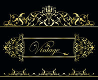 Gold vintage frame. Design of a vector in vintage style Stock Photography