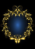 Gold vintage frame with blue stripes background Royalty Free Stock Photo