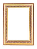 Gold vintage frame. Elegant vintage gold/gilded picture frame wi. Th beading. Isolated on white Stock Images
