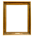 Gold vintage frame. Isolated on white background Royalty Free Stock Photography