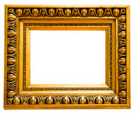 Gold vintage frame. Isolated on white background Royalty Free Stock Images