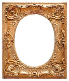 Gold vintage frame. Isolated on white background Stock Photos