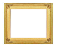 Gold vintage frame luxury isolated white background. Stock Photo