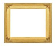 Gold vintage frame luxury isolated white background. Stock Photo