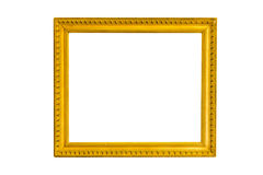 Gold vintage frame on white isolated background with clipping pa Royalty Free Stock Photography