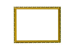Gold vintage frame on white isolated background with clipping pa Stock Image