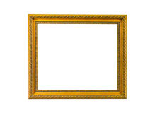 Gold vintage frame on white isolated background with clipping pa Stock Photos