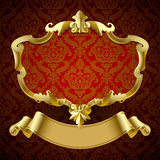 Gold vintage framed decorative signboard with banner on dark red Royalty Free Stock Images
