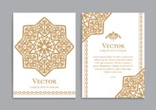Gold vintage greeting card with arabian star. Great white card for invitation, flyer, menu, brochure, postcard, background, wallpaper, decoration, or any desired Royalty Free Stock Photo