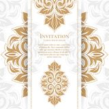 Floral Gold vintage greeting card. Royal. Vector Ornament template. Great for invitation stock illustration