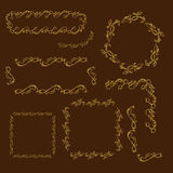 Gold vintage hand drawn floral frames Stock Photography