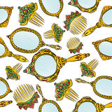 Gold vintage Hand Mirror and Hair Combs seamless pattern. Royalty Free Stock Image