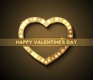 Gold Vintage Heart for Greeting Valentines Day Stock Photo