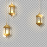 Gold vintage luminous lanterns. Arabic shining lamps.  hanging realistic lamps. Effects of transparent vector background Stock Photos