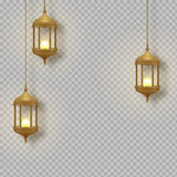 Gold vintage luminous lanterns. Arabic shining lamps. Isolated hanging realistic lamps. Effects transparent background. royalty free illustration