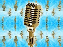 Gold vintage microphone Stock Photos