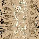 Gold vintage ornamental seamless pattern. Vector ornate patterne. D background. Abstract decorative hand drawn Baroque ornaments in Victorian style.  Luxury Royalty Free Stock Images