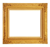 Gold vintage photo frame clipping path. Royalty Free Stock Images