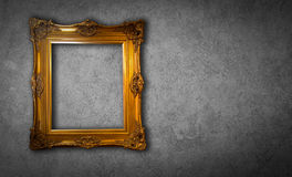 Gold vintage photo frame gray background. Gold vintage photo frame gray background Stock Photos