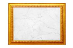 Gold vintage photo frame with white marble texture isolated on white royalty free stock images