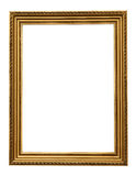 Gold vintage picture frame isolated on white background. Stock Photos
