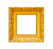 Gold Vintage picture frame on white background Stock Photography