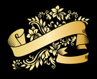 Gold vintage ribbon banner with leaves and flowers, drawing in engraving style.. Gold vintage ribbon banner with leaves and flowers, drawing in engraving style