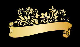 Gold vintage ribbon banner with leaves and flowers, drawing in engraving style.. Golden banner ribbon with ornament on the black background. Premium design for