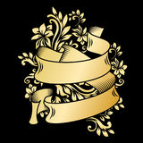 Gold vintage ribbon banner with leaves and flowers, drawing in engraving style. Golden banner ribbon with ornament on the black background. Premium design for