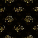 Gold vintage seamless floral pattern Royalty Free Stock Photos