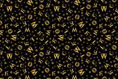Gold vintage texture pattern with curved letters Royalty Free Stock Photography