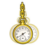 Gold vintage watch on a chain. Vector  Royalty Free Stock Images