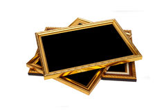 Gold vintage wooden photo frame isolated on white. Saved with cl Stock Photography