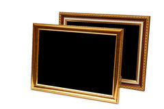 Gold vintage wooden photo frame isolated on white. Saved with cl Stock Image