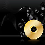 Gold vinyl disc background Royalty Free Stock Images