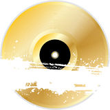 Gold vinyl record with grunge banner Stock Photos