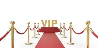 Gold VIP text on red carpet VIP way gold fence on white gray background Royalty Free Stock Photography