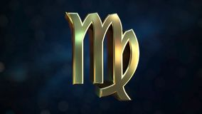 Gold Virgo Zodiac sign, 3D rendering. Gold Zodiac sign, part of the set. 3D vector illustration