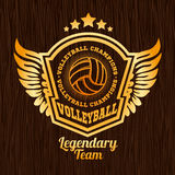 Gold volleyball emblem on the wooden texture Royalty Free Stock Photo