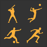 Gold volleyball and soccer icon Royalty Free Stock Images
